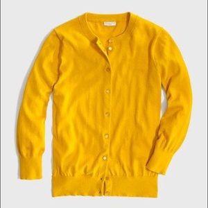 J. Crew Clare Cardigan Sweater in mustard yellow